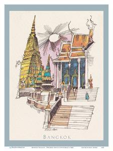 Bangkok, Thailand - Temple of the Dawn - TWA (Trans World Airlines) Menu Cover by David Klein