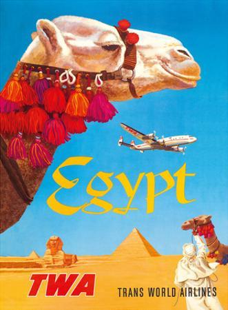 Egypt - TWA (Trans World Airlines) - Egyptian Camels, Pyramid, Sphinx by David Klein