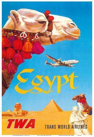 Egypt - TWA (Trans World Airlines) - Egyptian Camels, Pyramid, Sphinx
