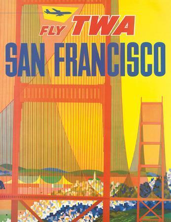 Fly TWA San Francisco, Golden Gate Bridge c.1958