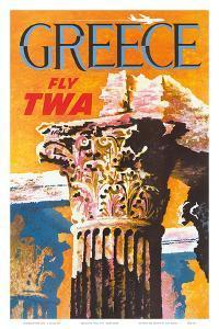 Greece - Fly TWA (Trans World Airlines) - Corinthian Style Greek Column by David Klein