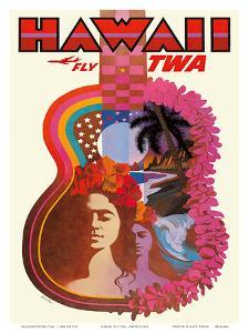 Hawaii - Fly TWA (Trans World Airlines) - ?Ukulele Psychedelic Flower Power Art by David Klein