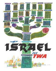 Israel - Fly TWA (Trans World Airlines) - Menorah by David Klein