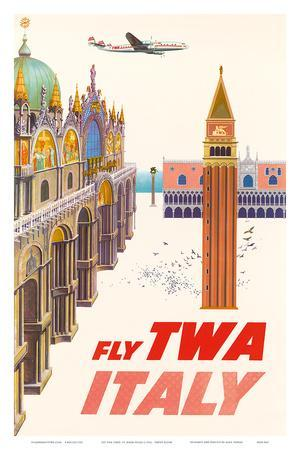 Italy - Fly TWA (Trans World Airlines) - Piazza San Marco (St. Mark Plaza)