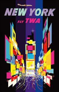 New York - Fly TWA - Times Square - Lockheed Constellation Connie by David Klein