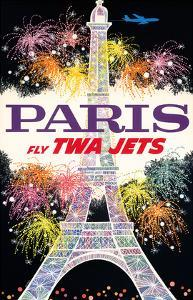 Paris, France - Fly TWA Jets - Trans World Airlines - Fireworks at Eiffel Tower by David Klein
