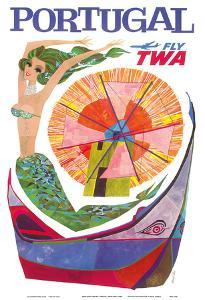 Portugal - Fly TWA (Trans World Airlines) - Mermaid Windmill by David Klein