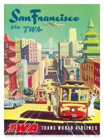 San Francisco California via TWA (Trans World Airlines) - Cable Cars