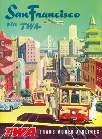 San Francisco California via TWA (Trans World Airlines) - Cable Cars by David Klein