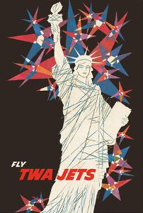 Statue of Liberty - New York - Fly TWA Jets (Trans World Airlines) by David Klein