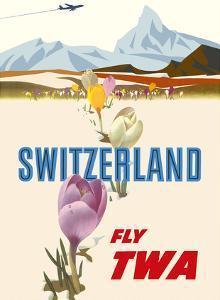 Switzerland- Fly TWA (Trans World Airlines) - Crocus Flowers Swiss Alps by David Klein