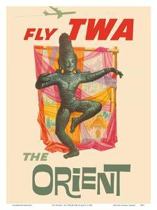 The Orient - Fly TWA (Trans World Airlines) - Bronze-era Siam Thai Dancer by David Klein