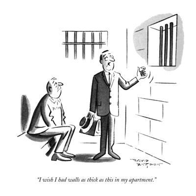 """I wish I had walls as thick as this in my apartment."" - New Yorker Cartoon"