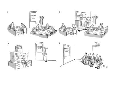 Men at work in Unemployment Compensation Office. An electronic brain is mo? - New Yorker Cartoon