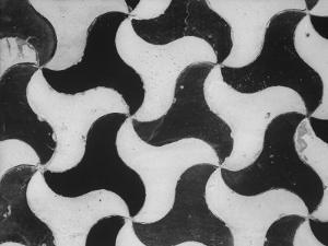 Close-Up of Ceramic Black and White Tile Pinwheel Mosaic in Alhambra, 13th Century Moorish Palace by David Lees