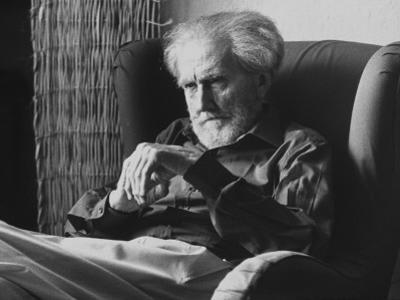 Poet Ezra Pound, 95, Relaxing in Wing Chair in Apt