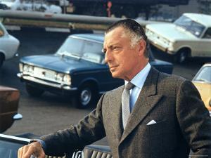 President of Fiat Gianni Agnelli Standing with Cars in Background, at Fiat Factory by David Lees
