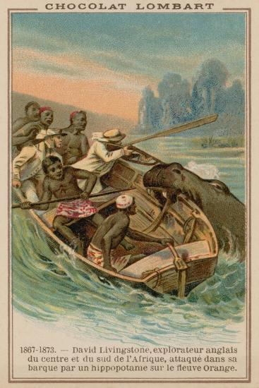 David Livingstone's Boat Being Attacked by a Hippopotamus on the Orange River, Africa, 1867-1873--Giclee Print