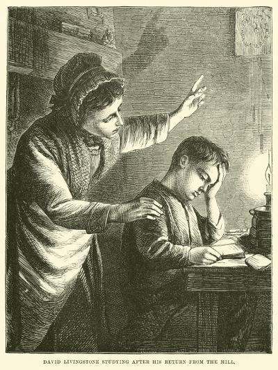 David Livingstone Studying after His Return from the Mill--Giclee Print