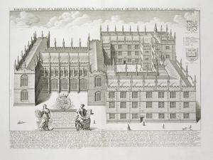 Bodleian Library, Oxford, from 'Oxonia Illustrata', Published 1675 (Engraving) by David Loggan