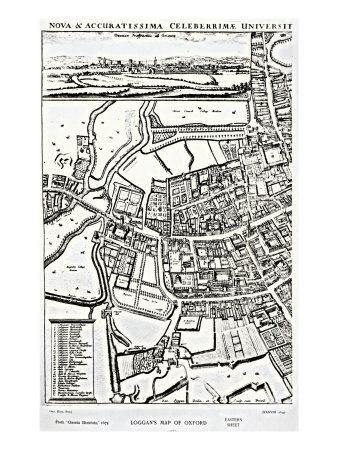 Loggan's Map of Oxford, Eastern Sheet, from 'Oxonia Illustrated', published 1675