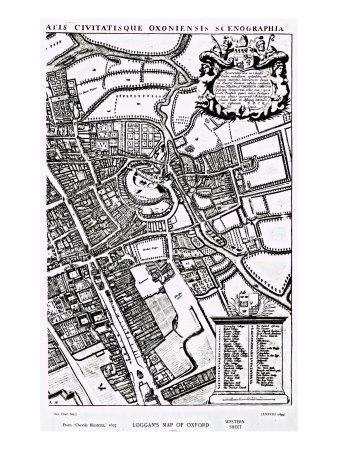 Loggan's Map of Oxford, Western Sheet, from 'Oxonia Illustrated', published 1675