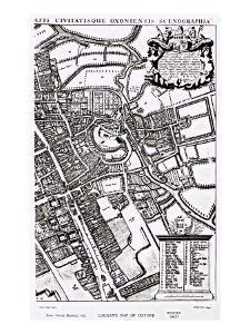 Loggan's Map of Oxford, Western Sheet, from 'Oxonia Illustrated', published 1675 by David Loggan