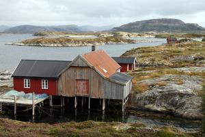 Fishing Cabin on the Island of Villa Near Rorvik, West Norway, Norway, Scandinavia, Europe by David Lomax