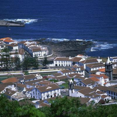 Houses and Coastline in the Town of Santa Cruz on the Island of Graciosa in the Azores, Portugal