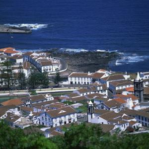 Houses and Coastline in the Town of Santa Cruz on the Island of Graciosa in the Azores, Portugal by David Lomax