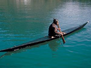 Inuit in Traditional Kayak, Greenland, Polar Regions by David Lomax
