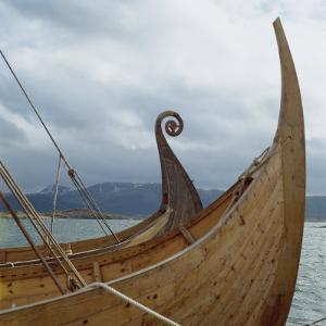 Replica Viking Ships, Oseberg and Gaia, Haholmen, West Norway, Norway, Scandinavia, Europe by David Lomax