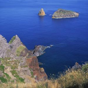 Rock Formations on the Volcanic Coastline on the Island of Graciosa in the Azores, Portugal by David Lomax