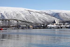 Tromso Bridge and the Cathedral of the Arctic in Tromsdalen, Troms, Norway, Scandinavia, Europe by David Lomax