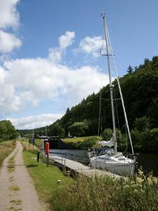 Yacht Moored in Crinan Canal, Highlands, Scotland, United Kingdom, Europe by David Lomax