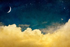 A Fantasy Cloudscape with Stars and a Crescent Moon Overlaid with a Vintage, Textured Watercolor Pa by David M Schrader