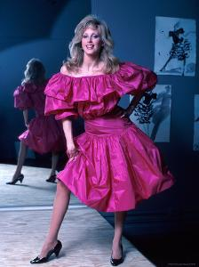 Actress Morgan Fairchild Wearing Pink Dress, Reflected by Mirror by David Mcgough
