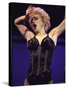 Pop Star Madonna Wearing Skimpy Lingerie While Performing Onstage by David Mcgough