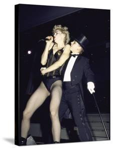 Singer Madonna Performing with Dancer by David Mcgough
