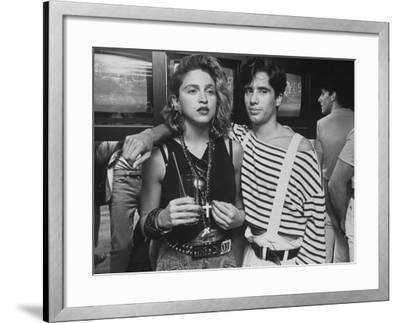 "Singer Madonna with D.J. Jellybean Benitez at Opening of Video Club ""Private Eyes"
