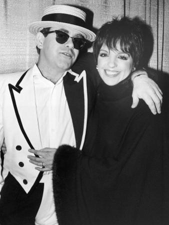 Singers Elton John and Liza Minnelli Backstage at Madison Square Garden before Elton's Performance