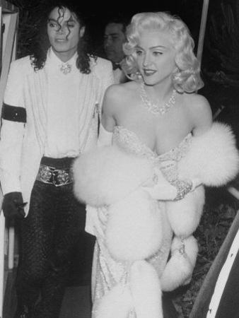 "Singers Madonna and Michael Jackson on Way to Agent Irving ""Swifty"" Lazar's Annual Oscar Party"