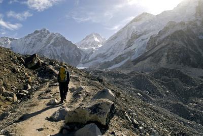 A Trekker on the Everest Base Camp Trail, Nepal