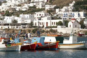 Fishing Boats in the Harbor of Chora, Mykonos, Greece by David Noyes
