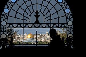Franciscan Basilica of Dominus Flevit, View of the Old City, Jerusalem, Israel by David Noyes