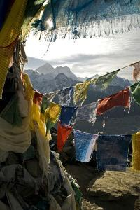 Prayer Flags on Summit of Gokyo Ri, Everest Region, Mt Everest, Nepal by David Noyes