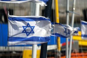 The Israeli Flag Fly's in the Breeze at the Harbor in Jaffa, Israel by David Noyes