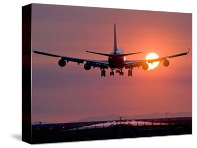 Boeing 747 Landing at Sunset, Vancouver International Airport, British Columbia, Canada
