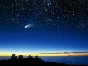 Hale-Bopp Comet And Telescope Domes by David Nunuk