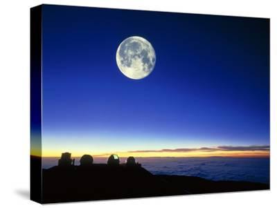 Observatories At Mauna Kea, Hawaii, with Full Moon